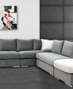 Black and white modern room with iron panel and concrete floor